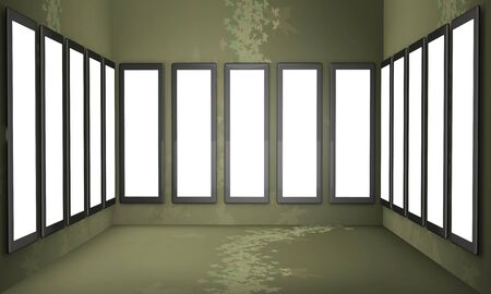showreel: Artwork display on the wall select white alpha space to add your photo or artwork 3d illustration