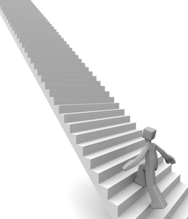 start up: Man stepping on long stairway to his destination 3d illustration