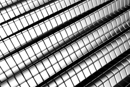 Abstract shiny tiles silver aluminum background with reflection 3d illustration illustration
