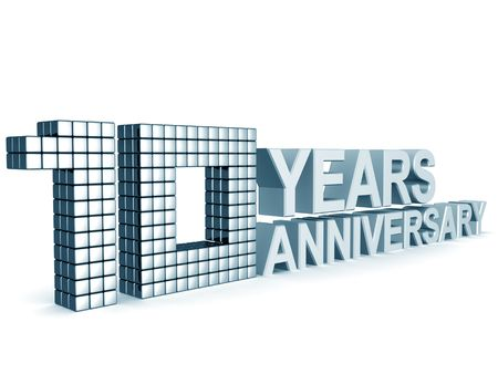 10 years: 10 years anniversary word 3d illustration isolated