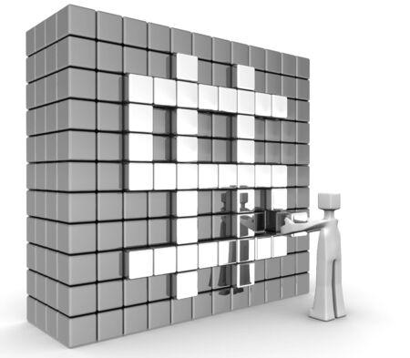 Businessman putting the last cube into dollar sign wall 3d illustration illustration