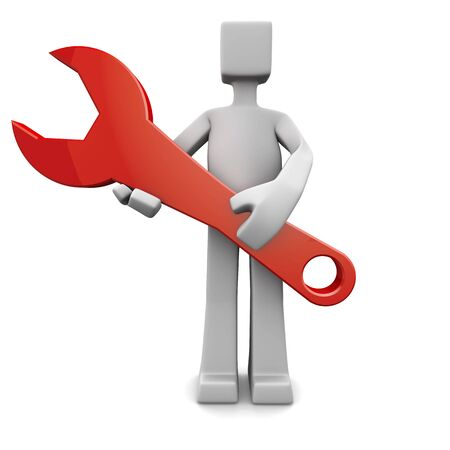 Person holding a red spanner 3d illustration illustration