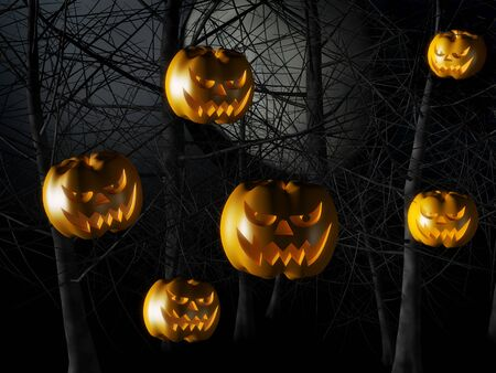 scary forest: Scary pumpkin floating on the air with forest tree branches background 3d illustration Stock Photo
