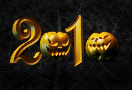 face in tree bark: Year 2010 halloween two pumpkin replace zero with tree branches background 3d illustration Stock Photo