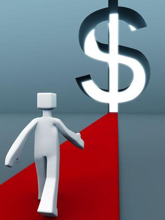 towards: Man walking on red carpet towards the dollar sign door success of wealth concept 3d illustration Stock Photo