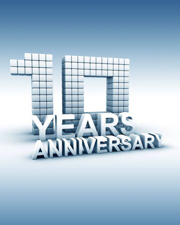 ten year old: 10 years anniversary word 3d illustration Stock Photo