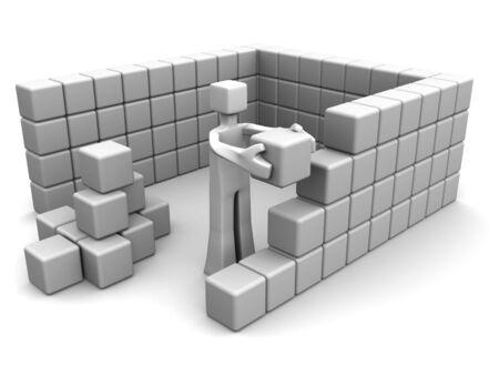 land development: Man placing a brick to build a house 3d illustration