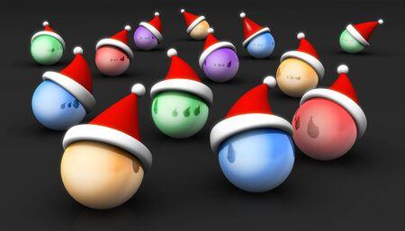 wearing santa hat: Group of christmas ball wearing santa hat 3d illustration