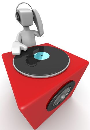 dj mixer: DJ mixing music and a big red speaker 3d illustration