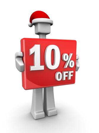 wearing santa hat: Christmas sales concept a man wearing santa hat showing 10 percent off signboard 3d illustration