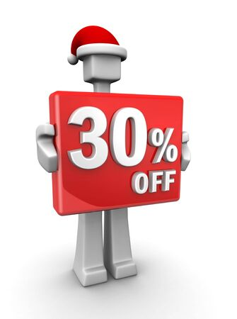 Christmas sales concept a man wearing santa hat showing 30 percent off signboard 3d illustration illustration