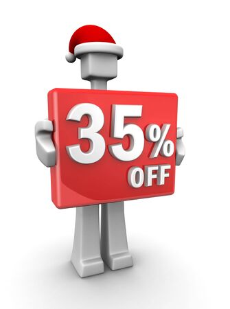 Christmas sales concept a man wearing santa hat showing 35 percent off signboard 3d illustration illustration