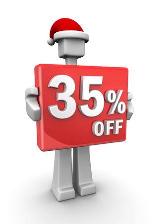 Christmas sales concept a man wearing santa hat showing 35 percent off signboard 3d illustration illustration