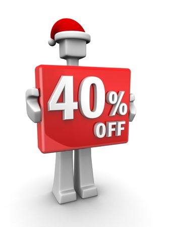 Christmas sales concept a man wearing santa hat showing 40 percent off signboard 3d illustration illustration