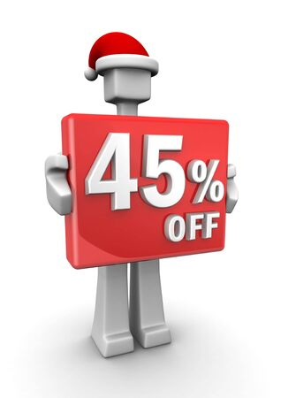 Christmas sales concept a man wearing santa hat showing 45 percent off signboard 3d illustration illustration