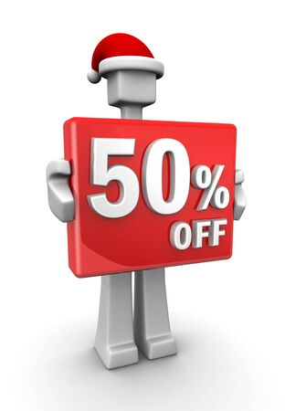 Christmas sales concept a man wearing santa hat showing 50 percent off signboard 3d illustration illustration