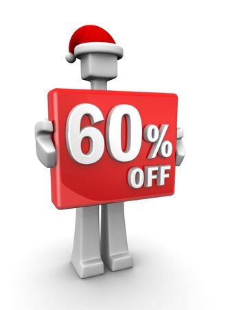 Christmas sales concept a man wearing santa hat showing 60 percent off signboard 3d illustration illustration