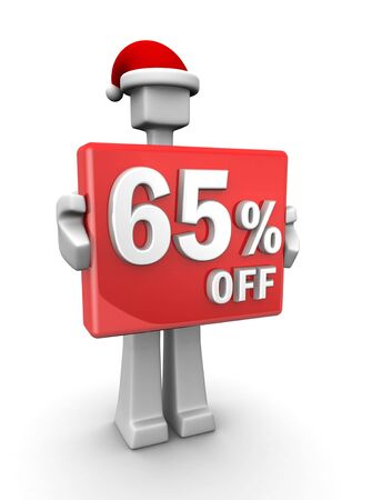 Christmas sales concept a man wearing santa hat showing 65 percent off signboard 3d illustration illustration