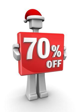 Christmas sales concept a man wearing santa hat showing 70 percent off signboard 3d illustration illustration