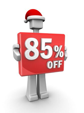Christmas sales concept a man wearing santa hat showing 85 percent off signboard 3d illustration illustration