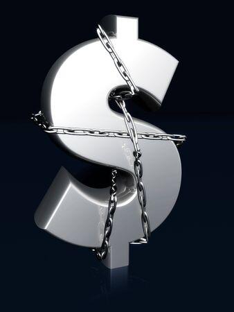 Dollarteken gebonden door de keten geld en veilige concept 3d illustratie