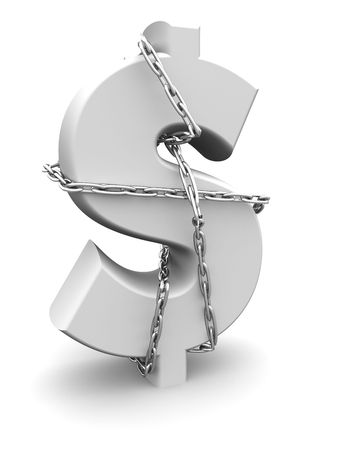 Dollar sign tied by chain money and secure concept 3d illustration Stock Illustration - 5809537
