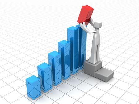 value: Imprenditore, aggiunta di un grafico a barre rosso per aumentare la crescita finanziaria illustrazione 3d  Archivio Fotografico