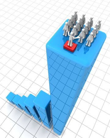 Leader making speak to team of worker on top of a growing financial bar chart 3d illustration