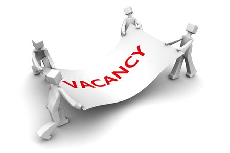 reality: Man fighting for available job vacancy 3d illustration