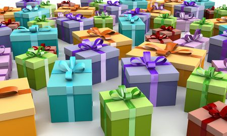 Colorful gift boxes on the floor 3d illustration