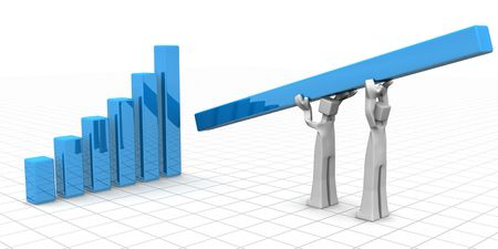 Businessman carrying and placing a tallest bar chart financial growth and teamwork success 3d illustration