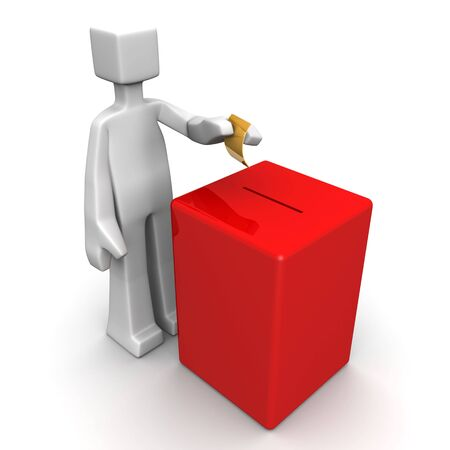 balloting: Man putting a ballot to box voting elections concept 3d illustration Stock Photo