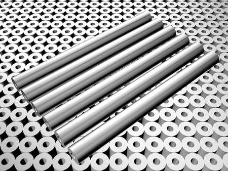 Aluminum tube industry concept 3d illustration Stock Illustration - 6017377
