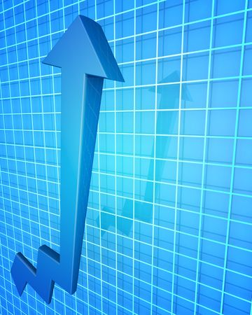 Arrow pointing up with graph background 3d illustration Stock Illustration - 6112408