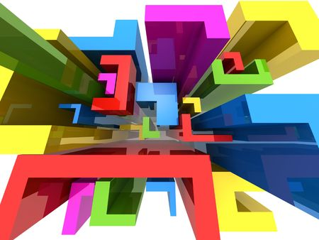 spacing: Colourful abstract L shape block composition background 3d illustration