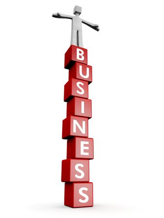 Man standing on top of business word cube business success and stable concept 3d illustration Stock Illustration - 6275352