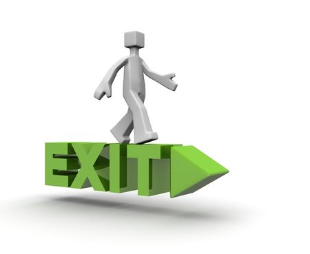 way out: man standing on top of a exit direction sign 3d illustration