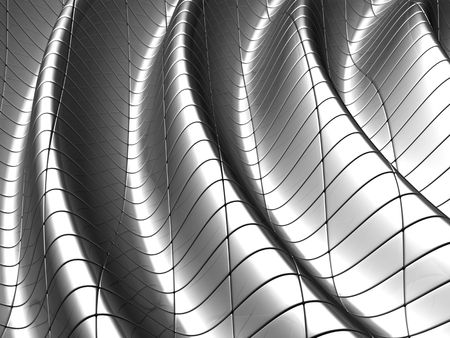 aluminum rod: Aluminum wave shape background with reflection 3d illustration