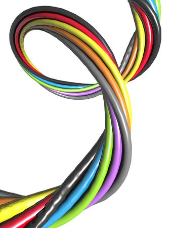 Abstract colourful wire isolated electronic connection concept 3d illustration