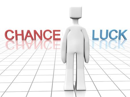 Man is making decision to go with chance or luck  3d illustration illustration