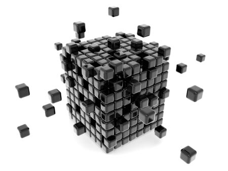 smaller: Lots of smaller cube formed a bigger cube solidarity concept 3d illustration Stock Photo