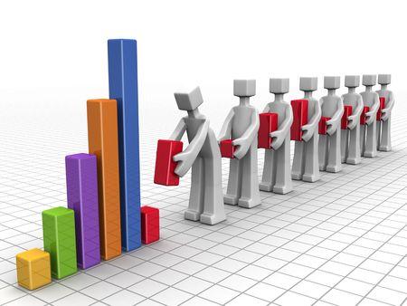 contabilidad: Equipo de negocios Agregar gr�fico de barras de rendimiento de indivitual a gr�fico financiera anual  Foto de archivo