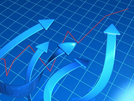 Arrows pointing up to a raising graph 3d illustration illustration