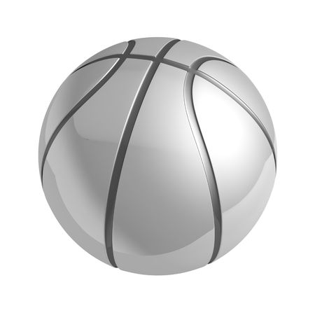 Silver shiny basketball with reflection isolated 3d illustration illustration