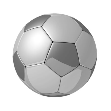 Silver shiny football with reflection isolated 3d illustration Stock Illustration - 6673747