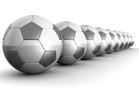 standby: Silver shiny football with reflection isolated 3d illustration Stock Photo