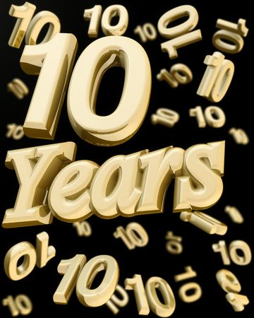 ten year old: 10 years anniversary word with bunch of number  10 falling at the back 3d illustration Stock Photo