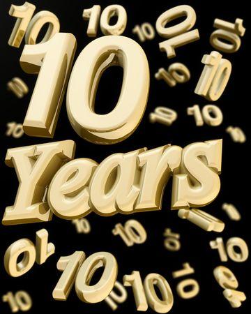 numero diez: palabra de aniversario de 10 a�os con un mont�n de n�mero 10 cayendo en la ilustraci�n vuelta 3d