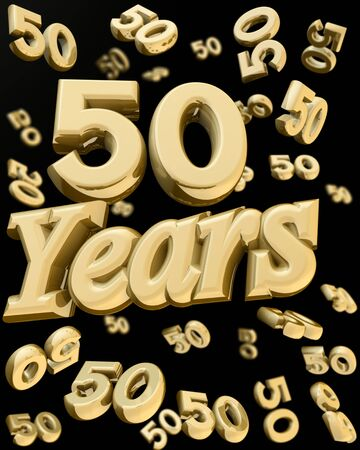 ten year old: 50 years anniversary word with bunch of number  50 falling at the back 3d illustration