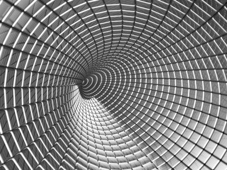 Aluminum tunnel abstract background 3d illustration illustration